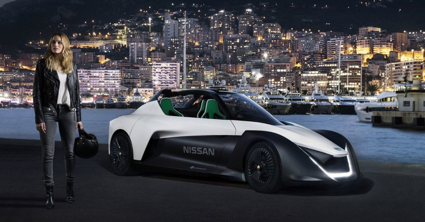 Margot Robbie shows you can in a Nissan, introducing BladeGlider electric sports car